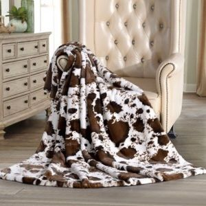 🎁 Luxury Faux Fur Throw (brown cow print) - NWT